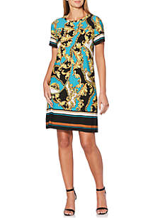 Petite Chain Printed A-Line Dress