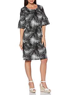 Petite Two-Tone Palm Lace-Up Dress