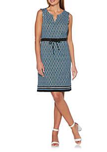 783229a1ea6e ... Rafaella Petite Geometric Print Bordered Knit Dress