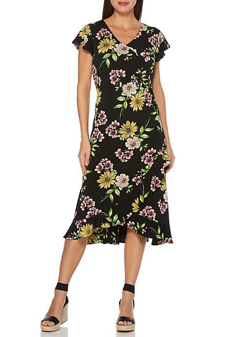 Petite ITY Short Sleeve Floral Printed Dress