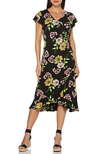 a4d550b7777e6 ... Rafaella Petite ITY Short Sleeve Floral Printed Dress
