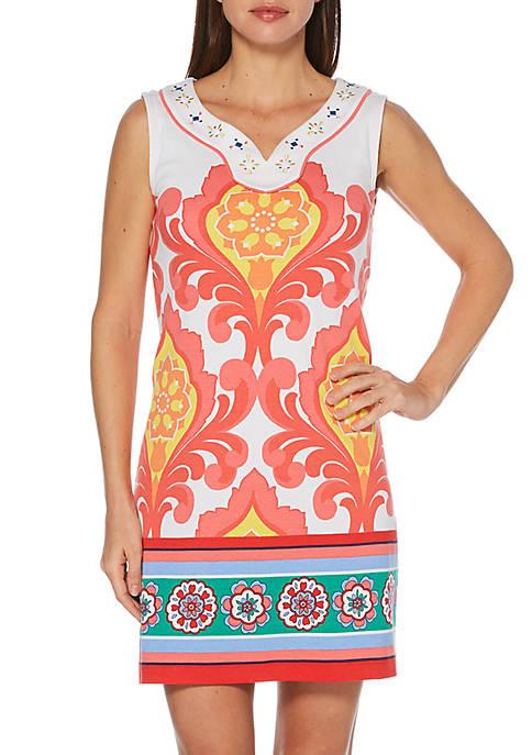 Rafaella Petite Abstract Placement Printed Dress