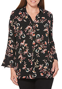 Petite Tossed Floral Print Long Tunic