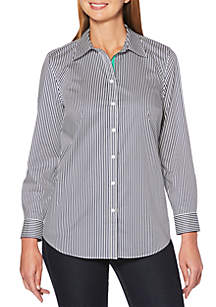 Petite Long Sleeve Stripe Button Front Shirt