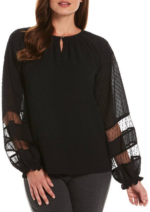 Petite Woven Embroidered Blouse