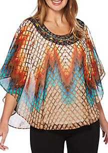 Petite Beaded Butterfly Poncho Top