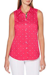 Petite Spaced Dot Button Down Shirt