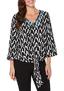 Petite Embroidered Vertical Chevron Top