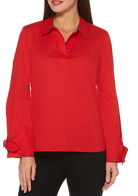 Petite Tie Sleeve Poplin Collar Top
