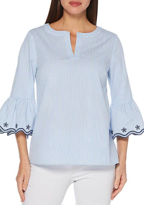 Petite Yarn Dye Stripe Bell Sleeve Top