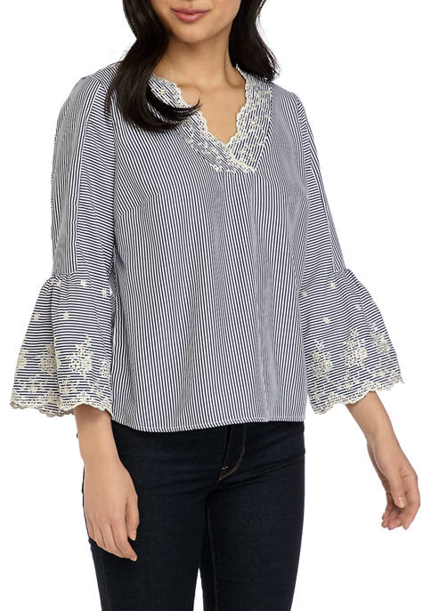 Petite Fashion Bell Sleeve Top with Embroidery