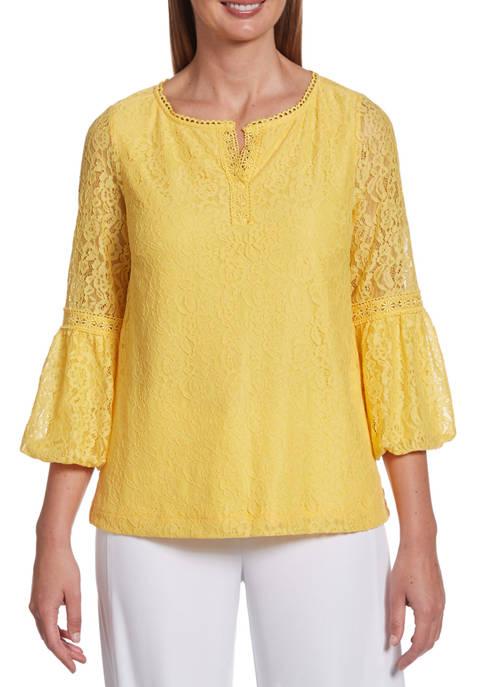 Rafaella Petite Fashion 3/4 Bubble Sleeve Lace Top