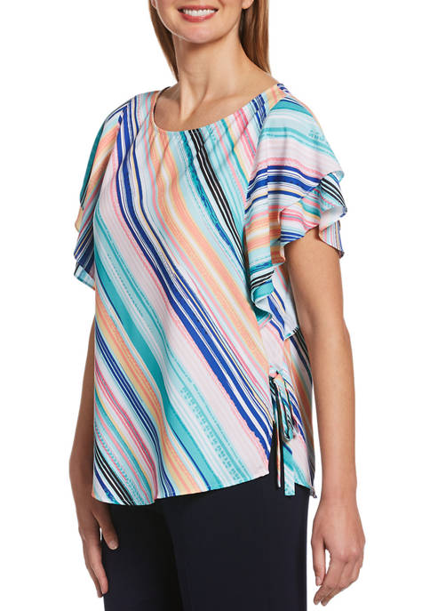 Rafaella Petite Stripe Flutter Sleeve Top