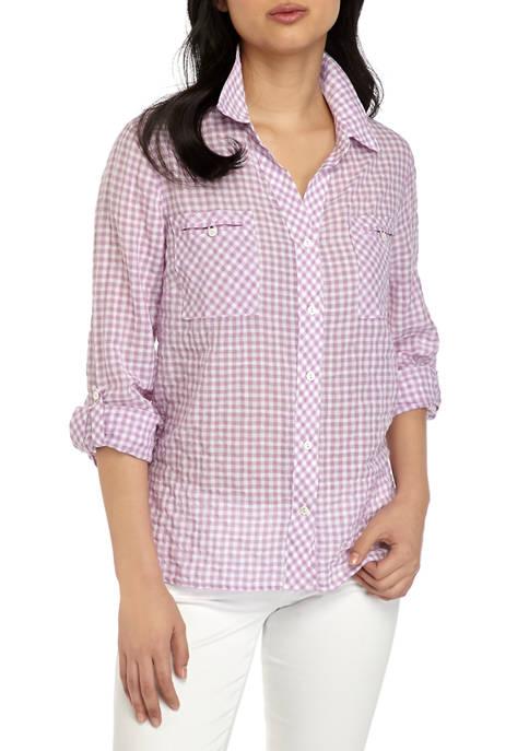 Petite Gingham Roll Tab Shirt