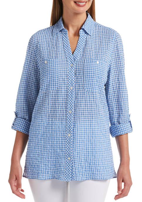 Petite Fashion Small Gingham Shirt