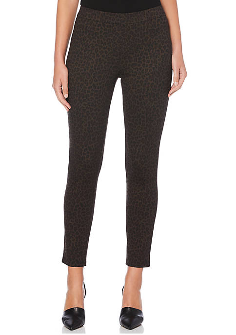 Rafaella Womens Animal Print Ponte Pants