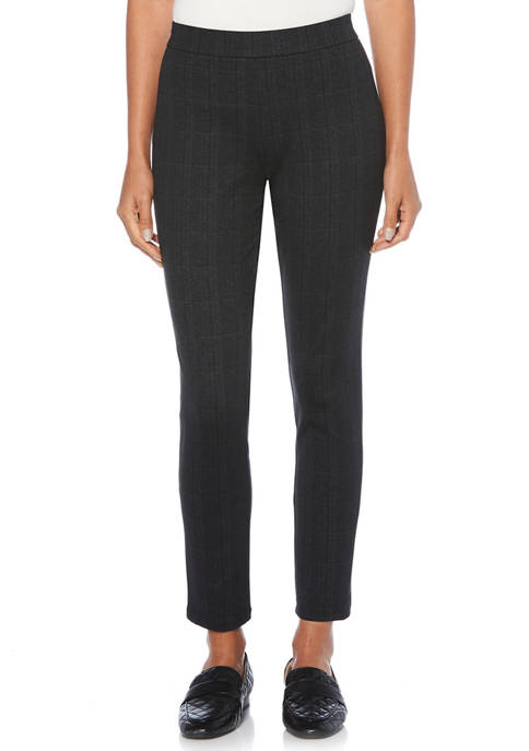 Womens Houndstooth Ponte Straight Fit Pants