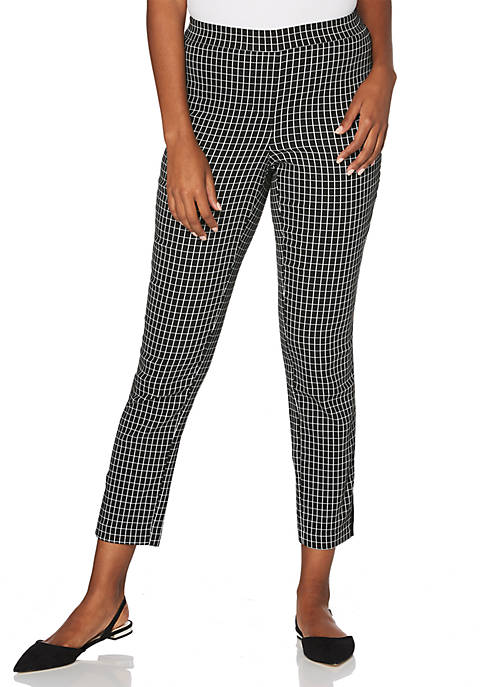 Plus Size Grid Power Stretch Skinny Ankle Pull-On Pants