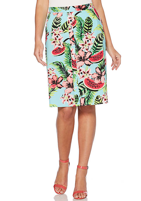 Rafaella Fruit Feast Poplin A-Line Button Front Skirt