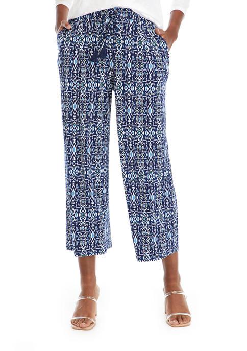 Womens Ikat Printed Cropped Pants