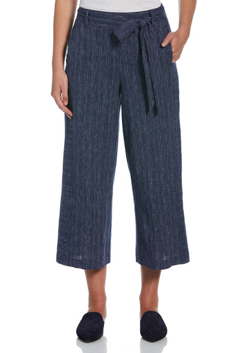 Rafaella Womens Belted Pull-On Cropped Pants