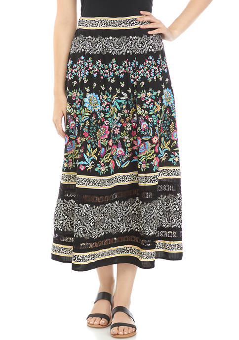 Rafaella Womens Patchwork Print Skirt