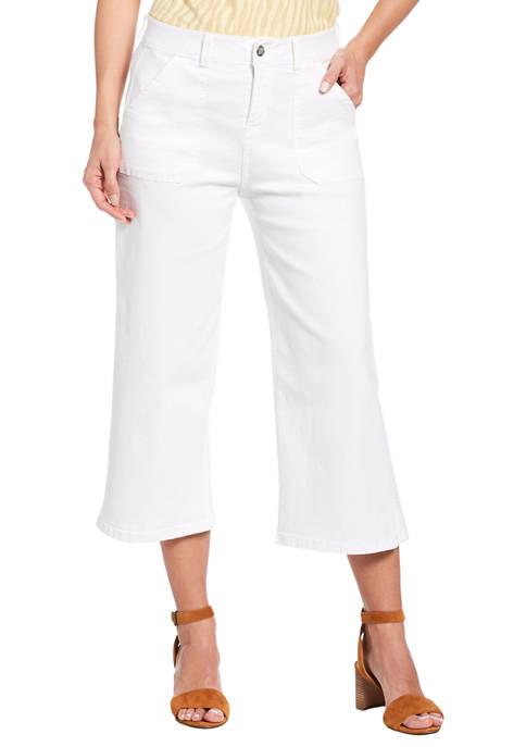 Rafaella Womens Cropped Wide Leg Denim Pants