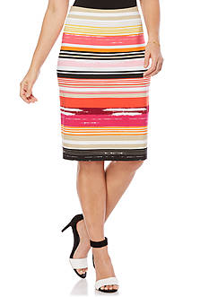 Rafaella Striped Pencil Skirt