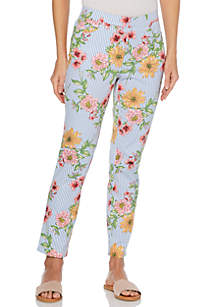 Rafaella Floral Stripe Twill Pants