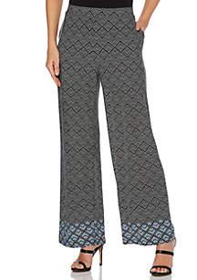 Rafaella Geometric Chevron ITY Crop Pants