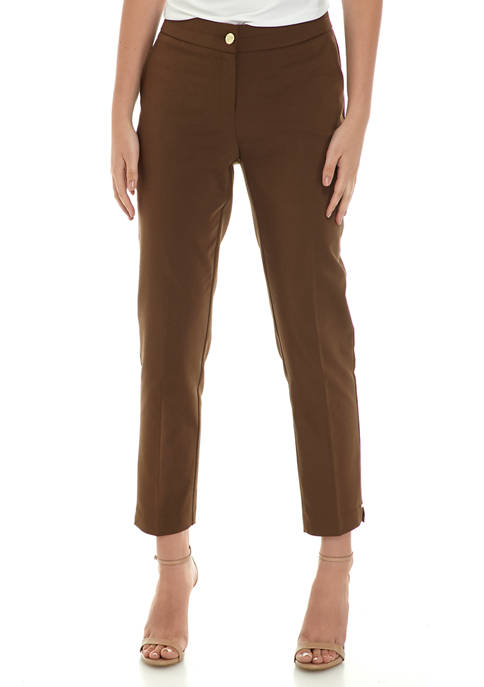 Rafaella Womens Satin Twill Ankle Pants