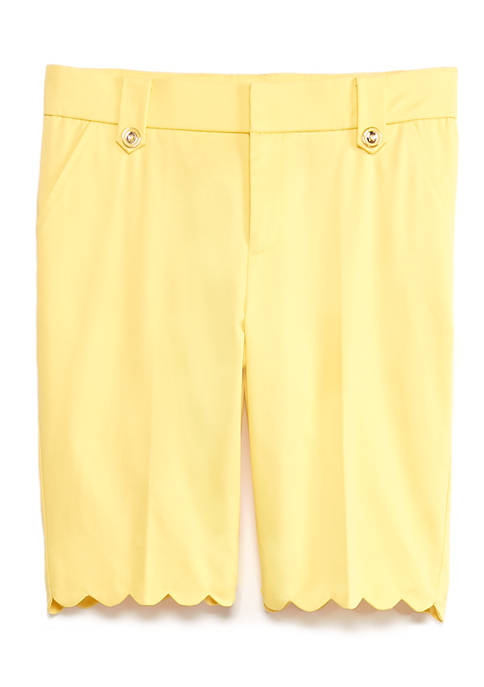Womens Chino Twill Scallop Hem Shorts