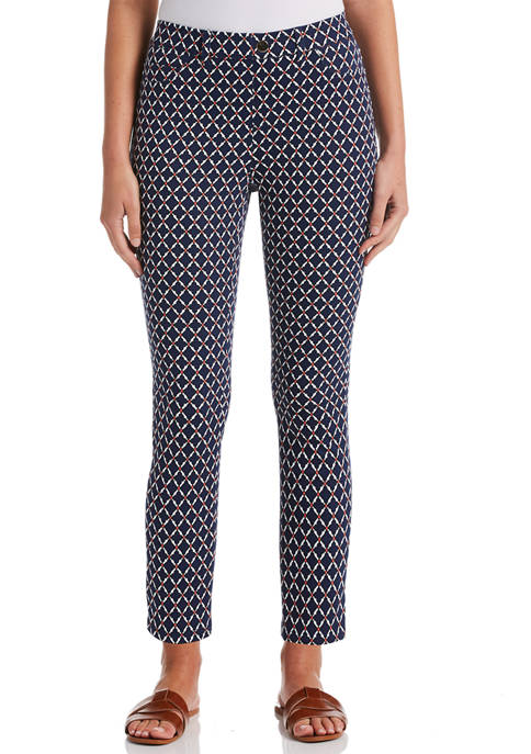 Rafaella Womens Medallion Geo Printed Pull On Skinny