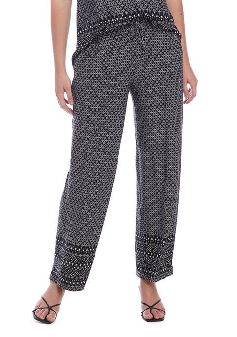 Rafaella Womens Moonstone Geometric Printed Pull On Pants