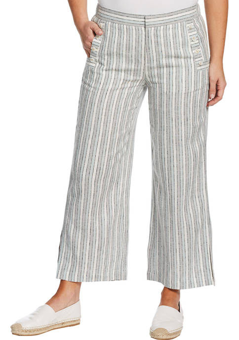 Womens Yarn Dye Linen Cropped Pants with Buttons