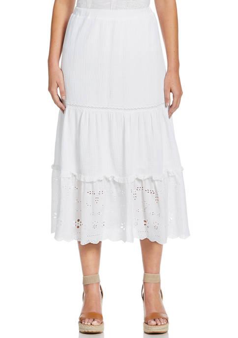 Womens Mixed Media Maxi Skirt