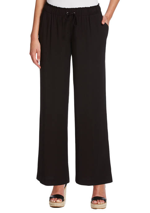 Womens Solid Pull-On Fluid Pants