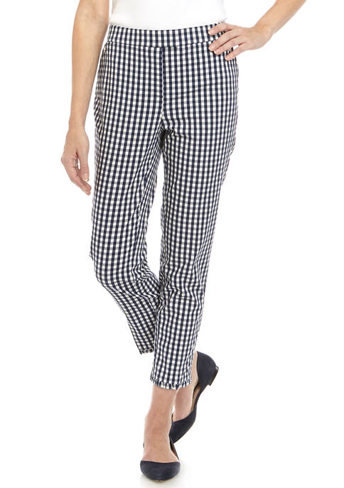 Womens Thick gingham Fly Front Ankle Length Pants with Ruffle