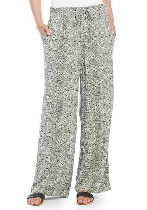 Womens Geometric Print Pull On Pants