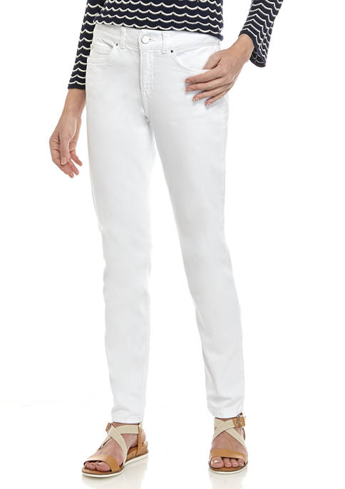 Womens White Denim Slim Fit Jeans