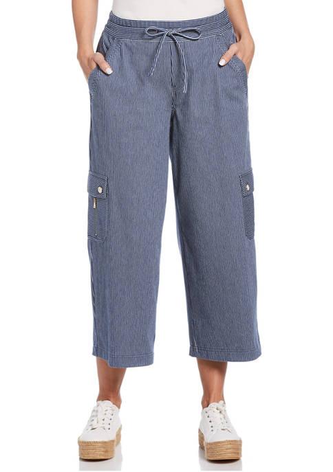 Womens Super Stretch Twill Stripe Crop Cargo Pants