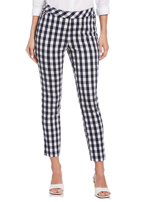 Womens Supreme Stretch Gingham Print Ankle Pants