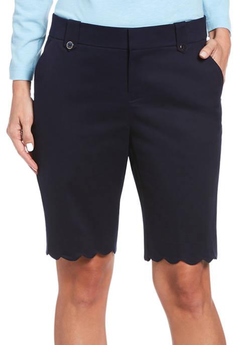 Rafaella Womens Scallop Hem Chino Shorts