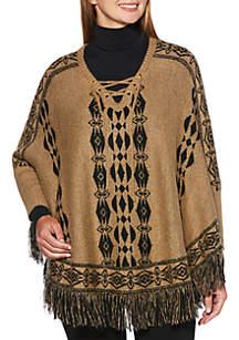 Weekend Fringe Sweater Poncho