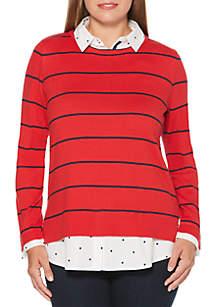 Wide Stripe Long Sleeve 2Fer Sweater