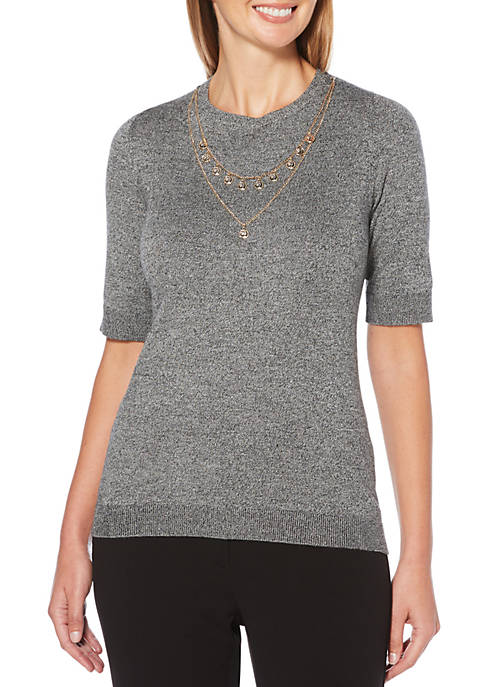 Elbow Sleeve Fine Sweater with Necklace