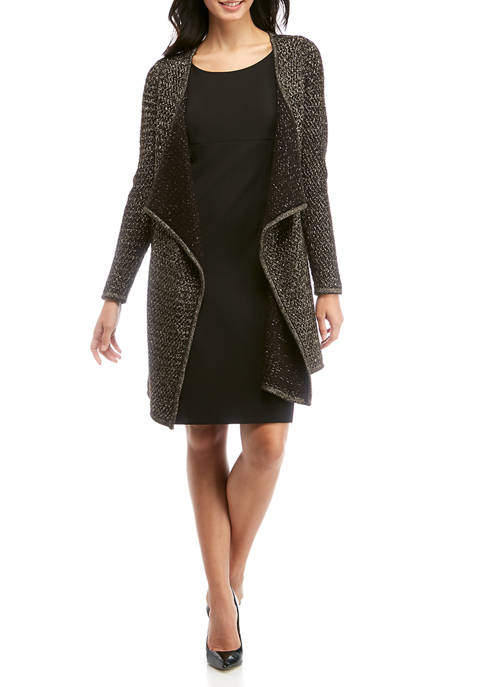 Rafaella Long Sleeve Open Front Duster with Lurex®