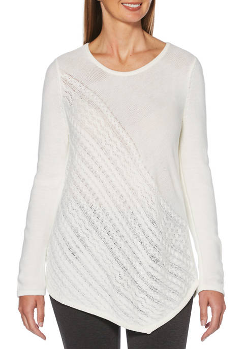 Womens Long Sleeve Asymmetric Cable Knit Sweater