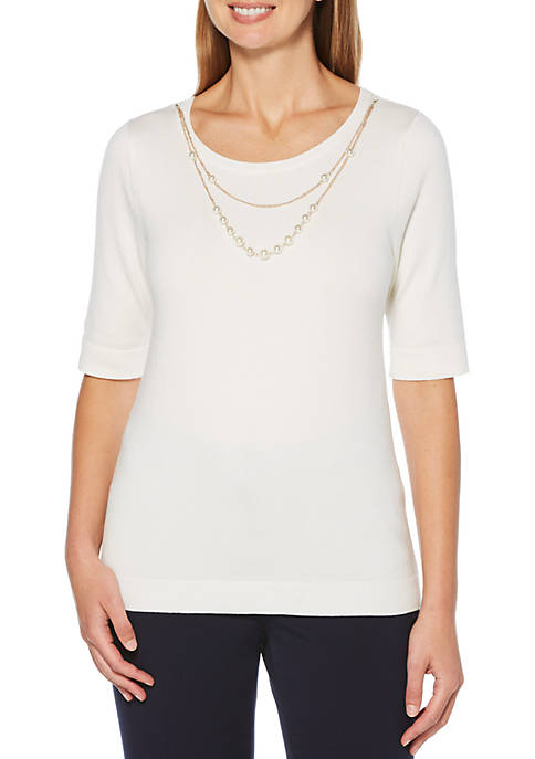 Womens Elbow Sleeve Fine Sweater with Necklace