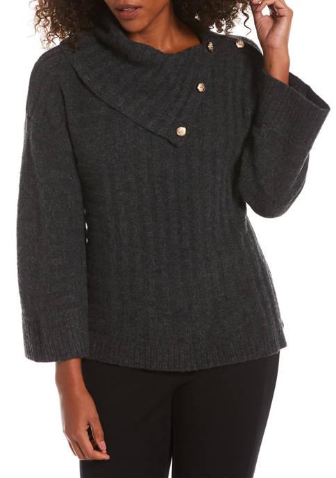 Womens Split Drape Neck Sweater